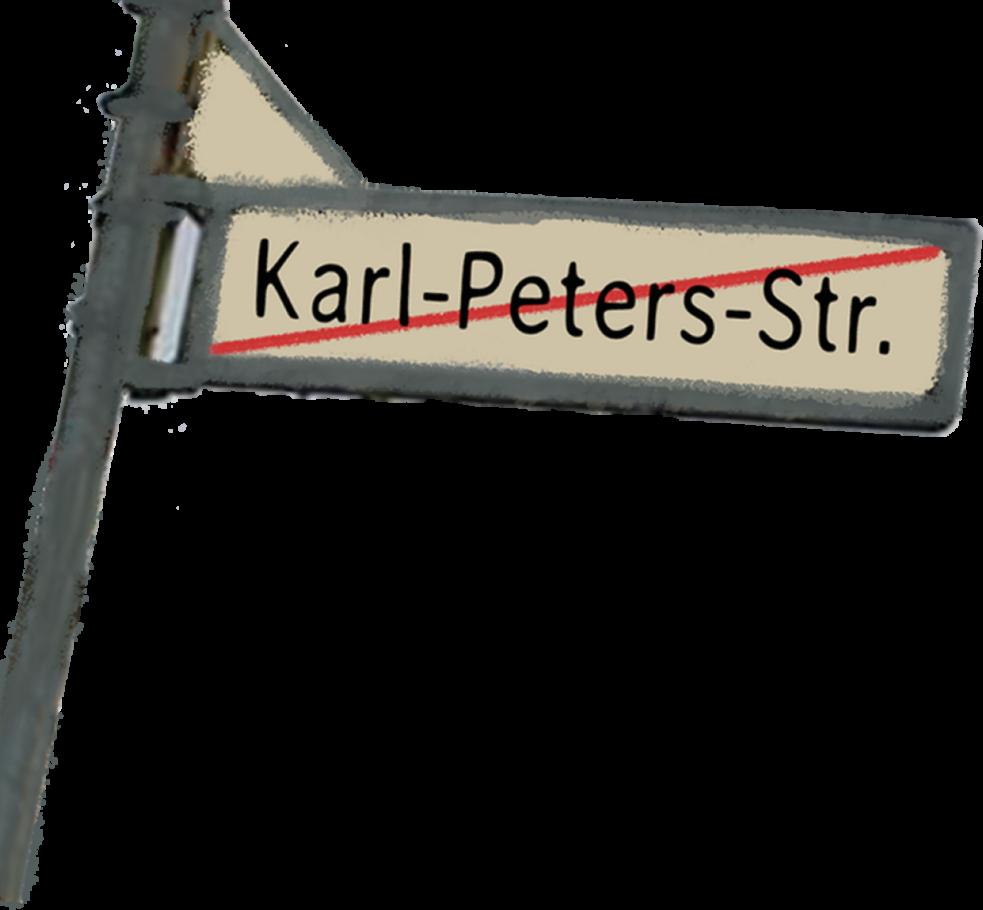 Straßenschild Karl-Peters-Straße Zeichnung von Sofia Nikoleizig